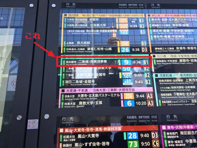 京都駅のバス案内板